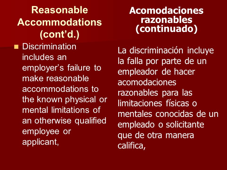 Reasonable Accommodations (cont'd.)