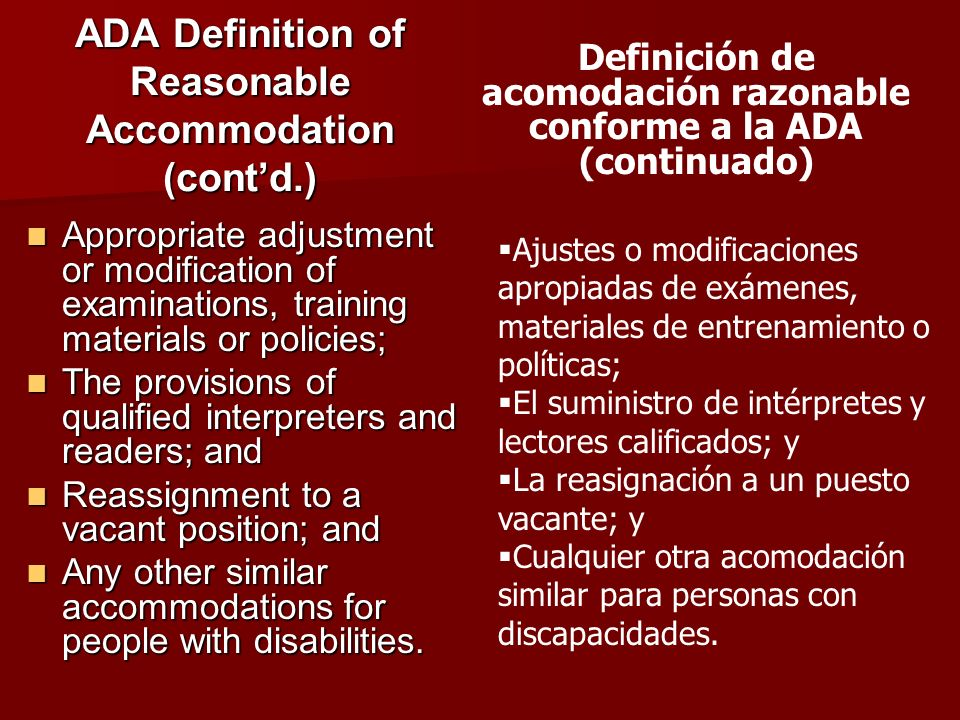 ADA Definition of Reasonable Accommodation (cont'd.)