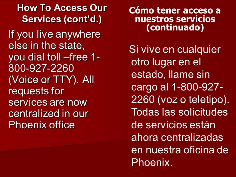 How To Access Our Services (cont'd.)
