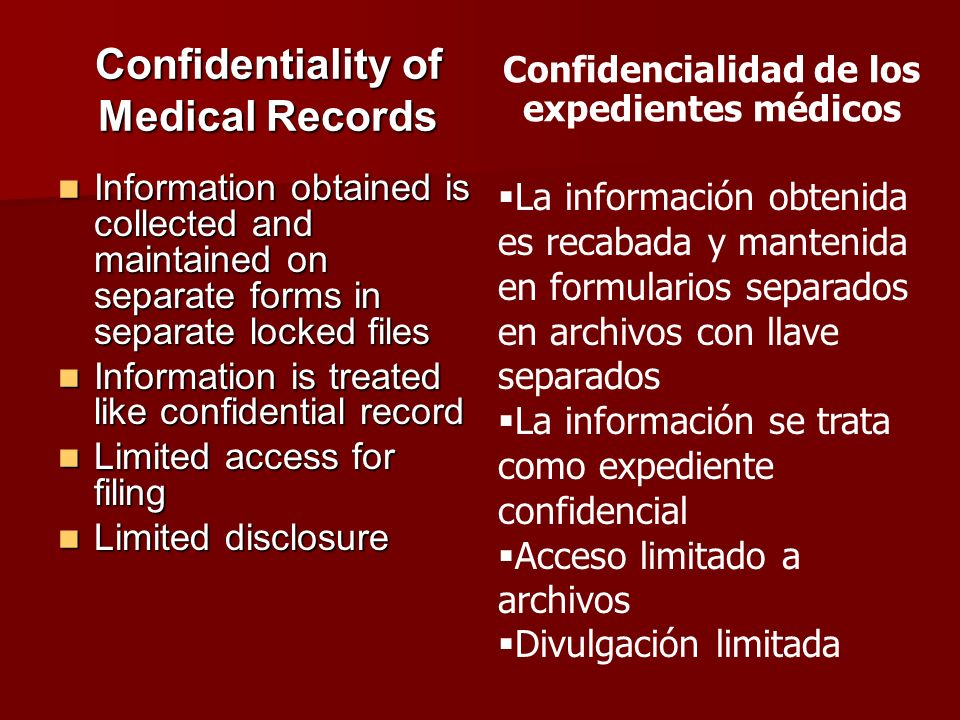 Confidentiality of Medical Records