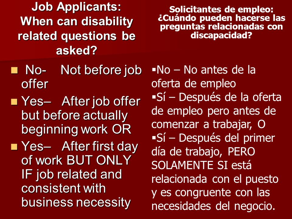 Job Applicants: When can disability related questions be asked