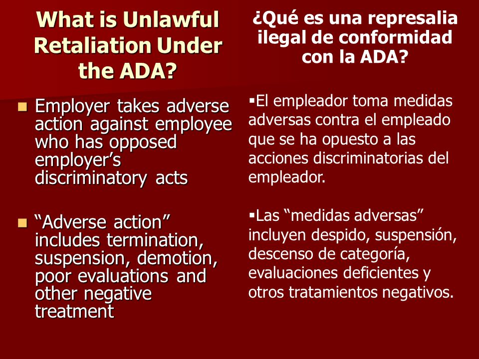 What is Unlawful Retaliation Under the ADA