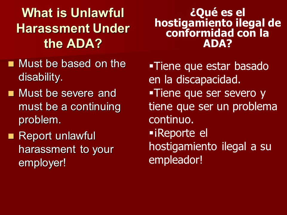 What is Unlawful Harassment Under the ADA