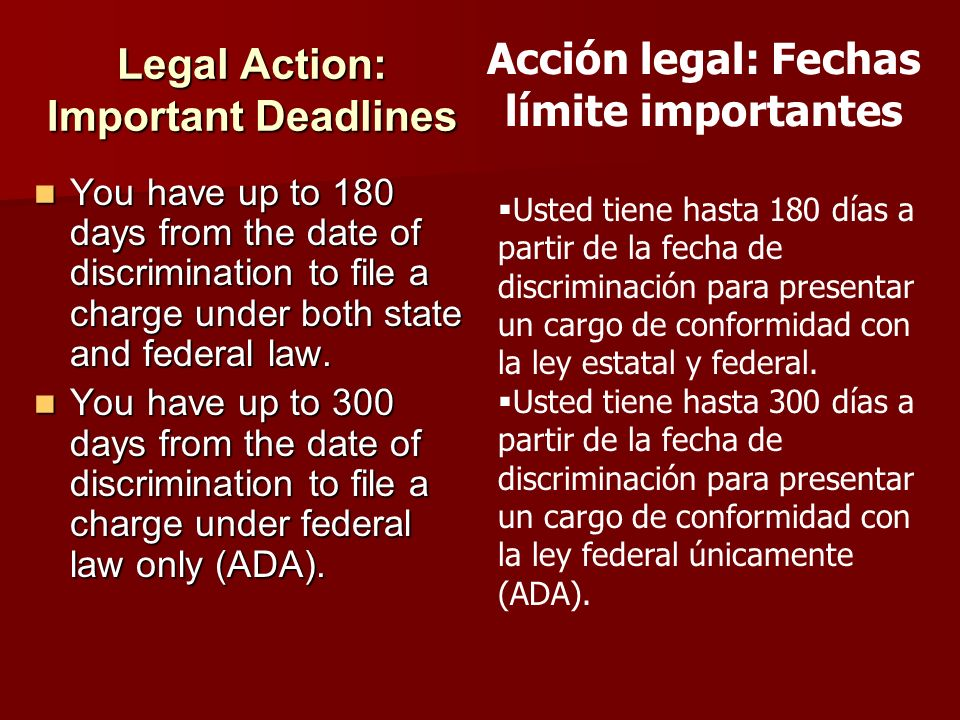 Legal Action: Important Deadlines