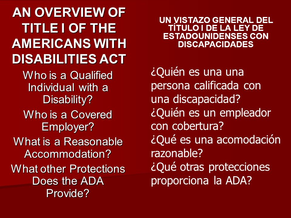 AN OVERVIEW OF TITLE I OF THE AMERICANS WITH DISABILITIES ACT