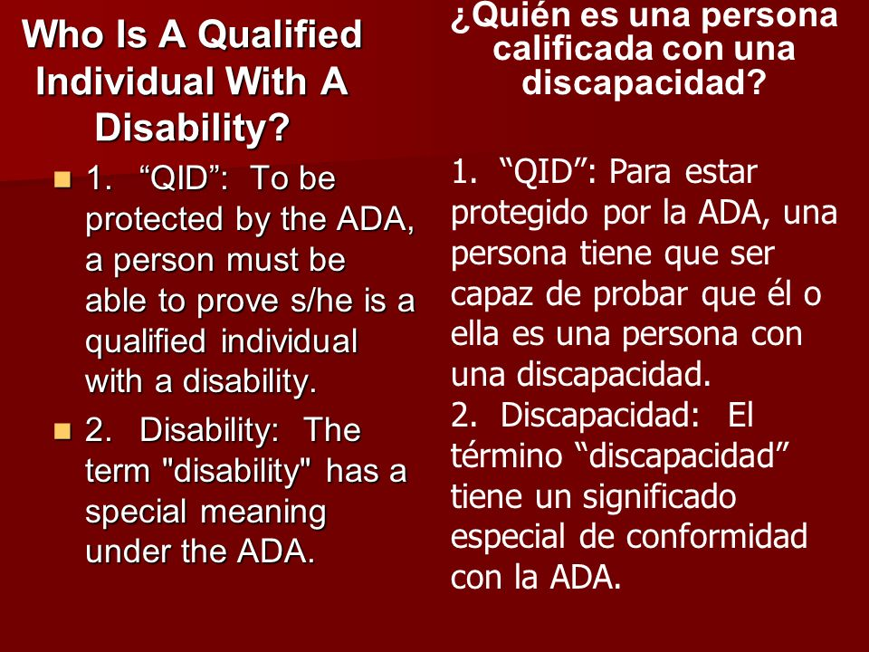 Who Is A Qualified Individual With A Disability