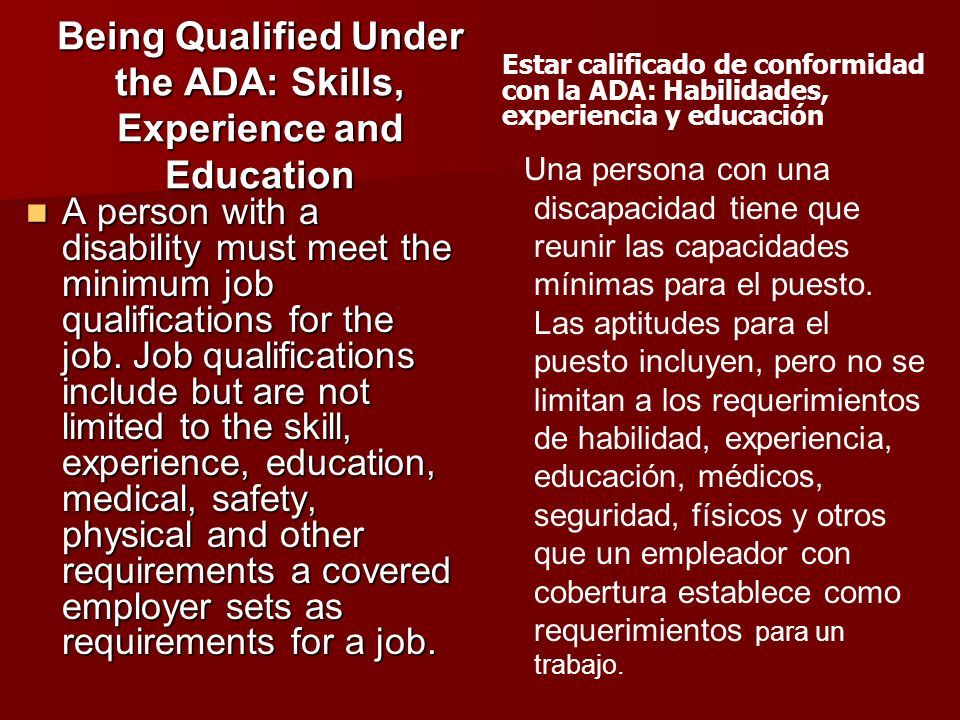 Being Qualified Under the ADA: Skills, Experience and Education