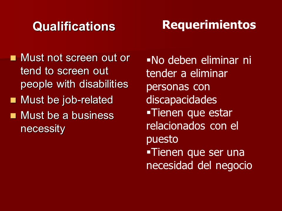 Qualifications Requerimientos