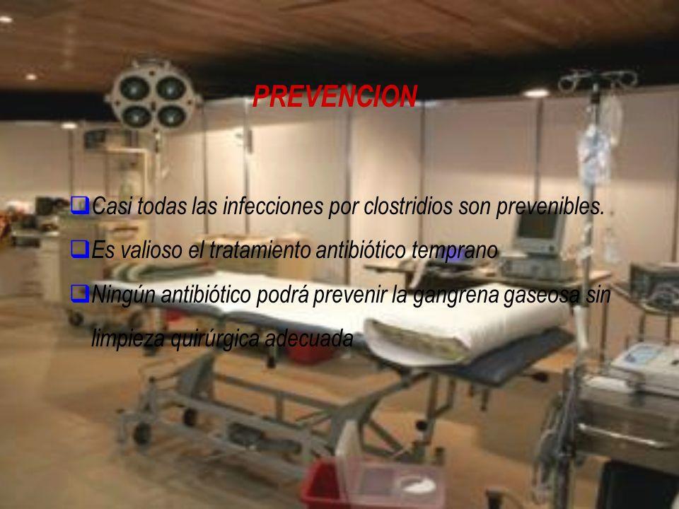 PREVENCION Casi todas las infecciones por clostridios son prevenibles.