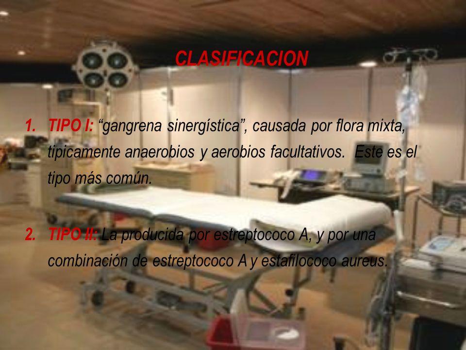 CLASIFICACION TIPO I: gangrena sinergística , causada por flora mixta, tipicamente anaerobios y aerobios facultativos. Este es el tipo más común.