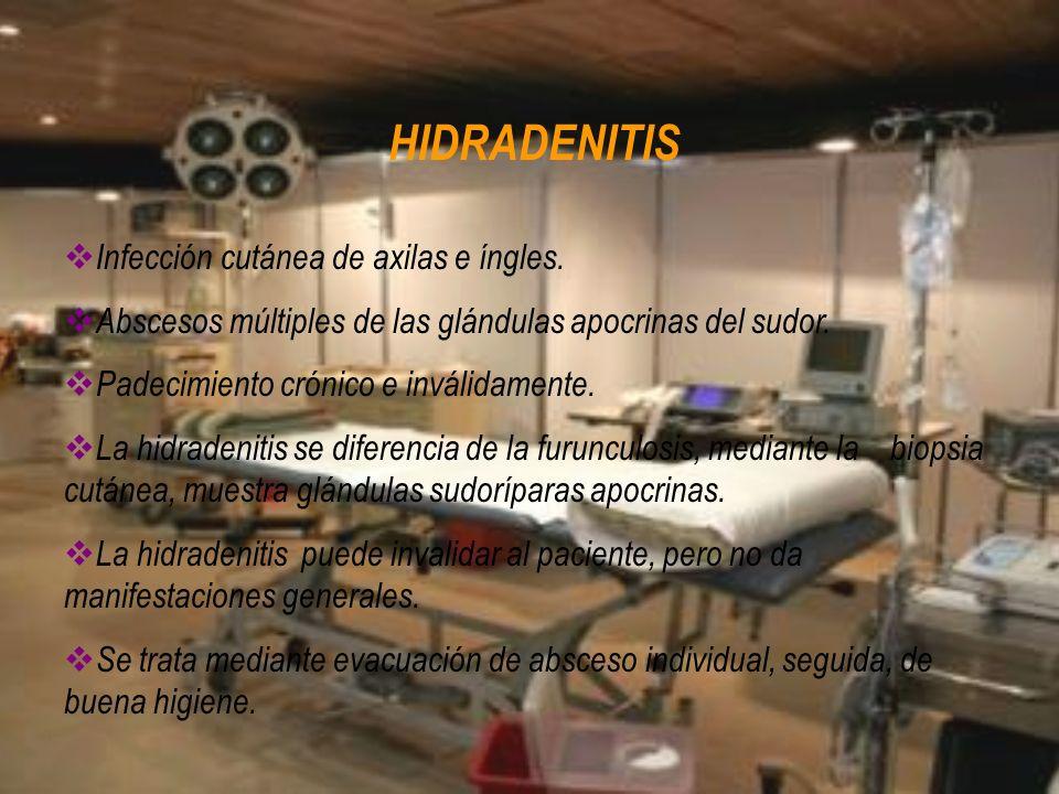 HIDRADENITIS Infección cutánea de axilas e íngles.