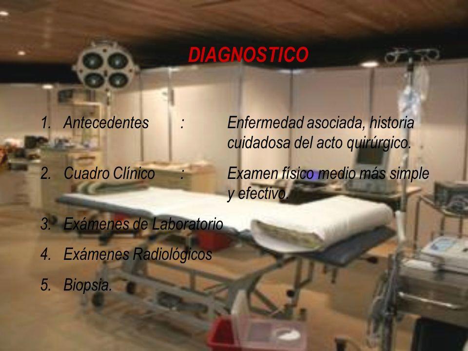DIAGNOSTICO Antecedentes : Enfermedad asociada, historia cuidadosa del acto quirúrgico.