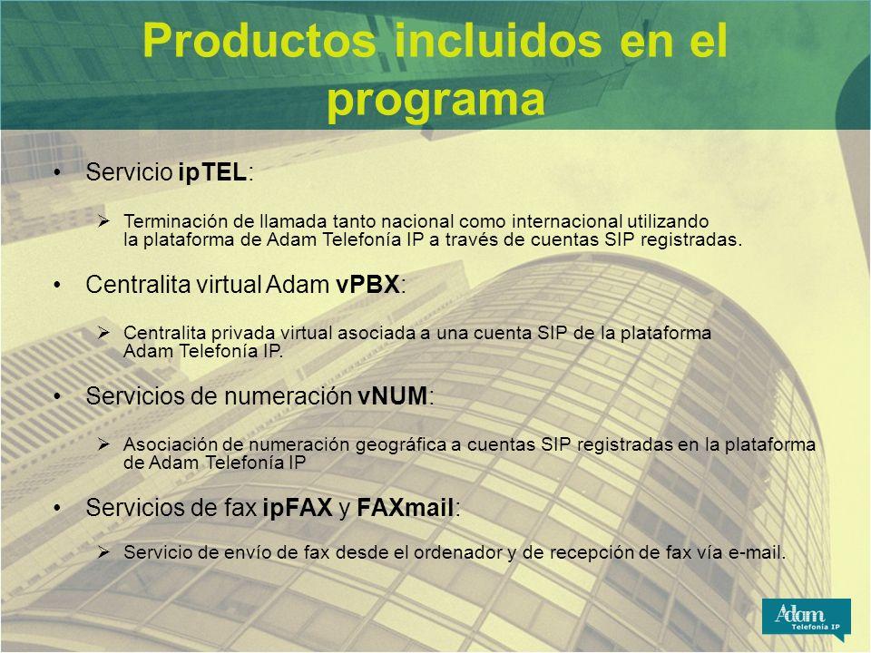 Productos incluidos en el programa