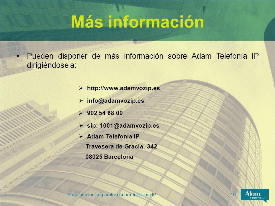 Presentación corporativa Adam Telefonía IP