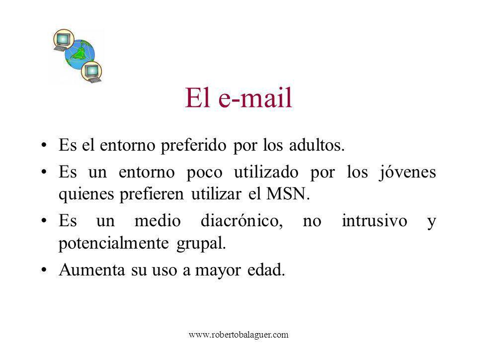 El e-mail Es el entorno preferido por los adultos.