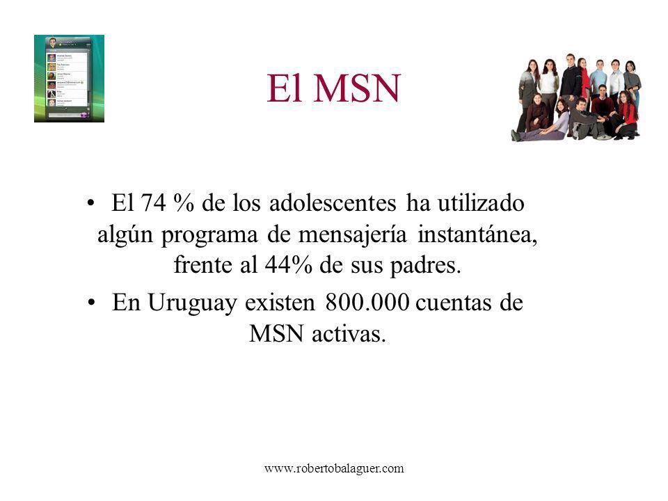 En Uruguay existen 800.000 cuentas de MSN activas.