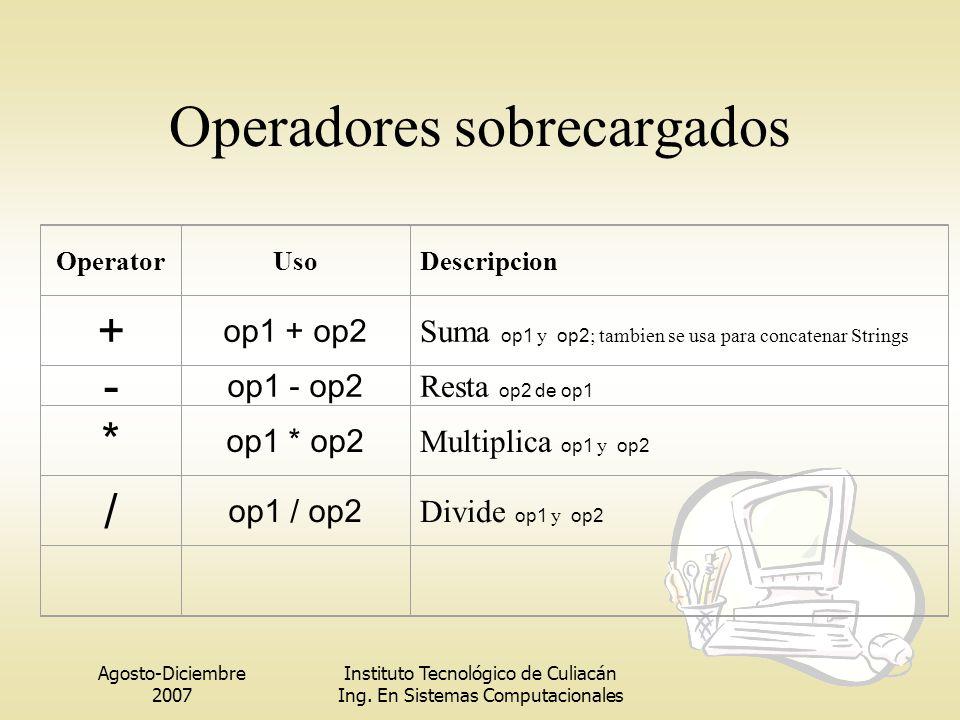 Operadores sobrecargados