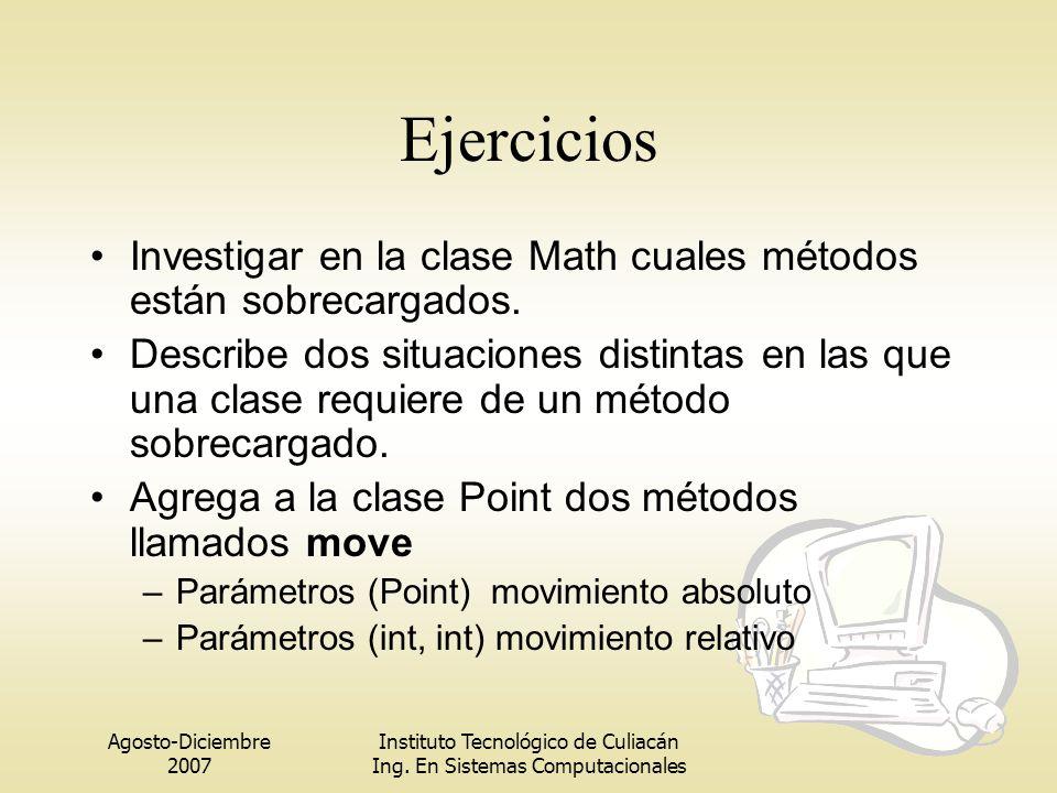 Ejercicios Investigar en la clase Math cuales métodos están sobrecargados.