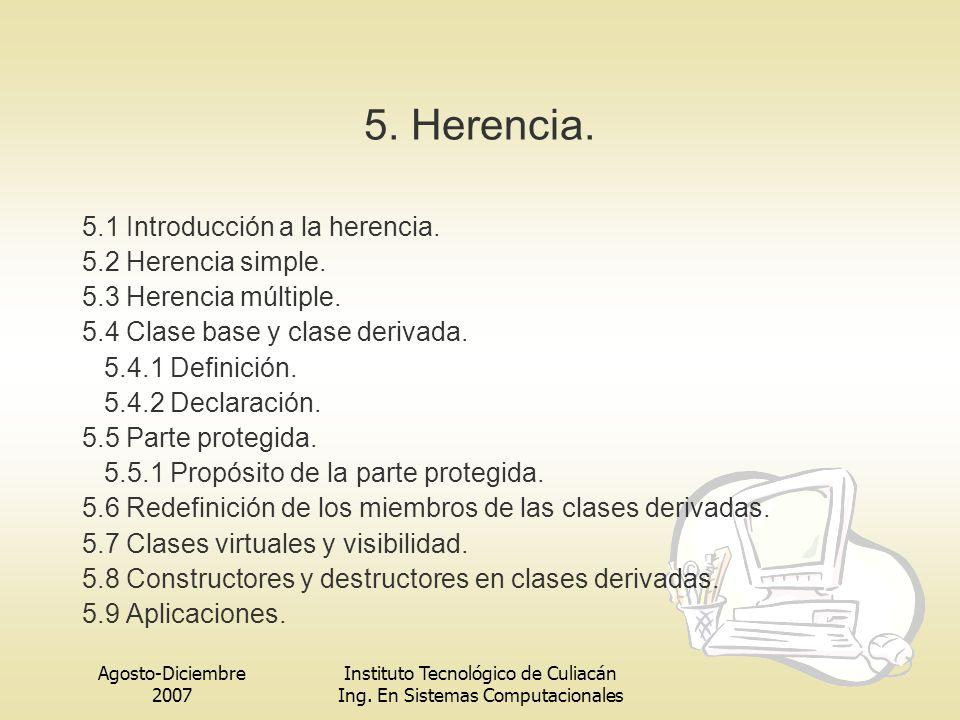 5. Herencia. 5.1 Introducción a la herencia. 5.2 Herencia simple.