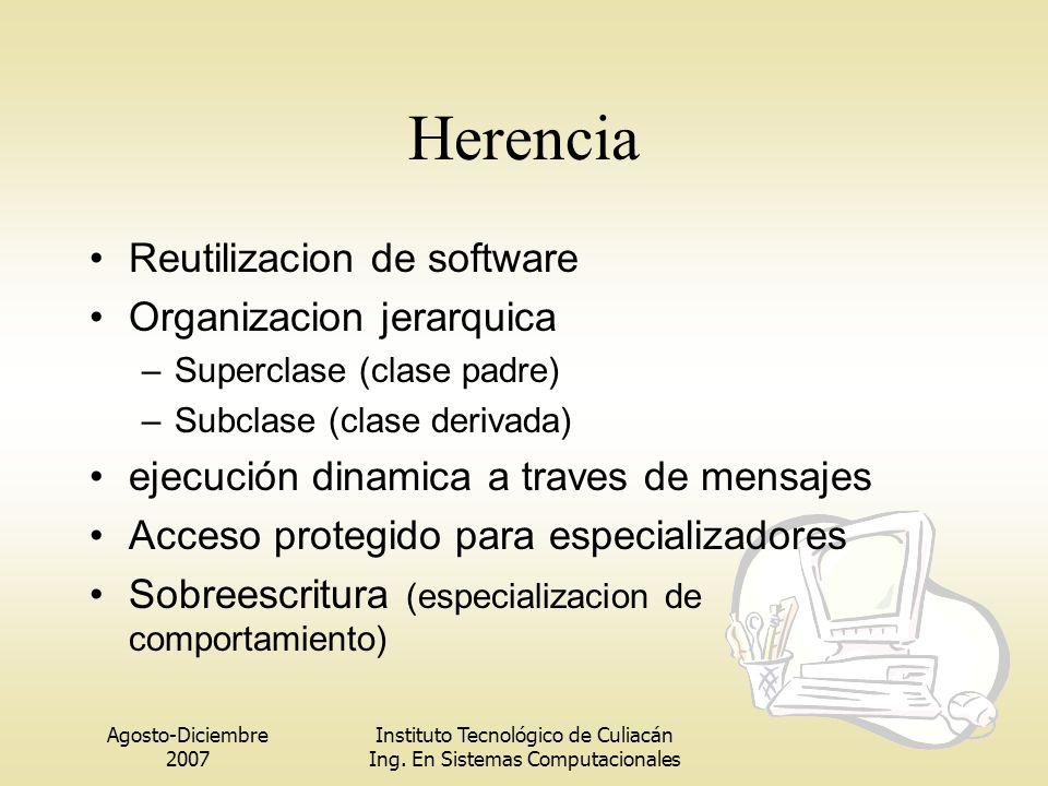 Herencia Reutilizacion de software Organizacion jerarquica
