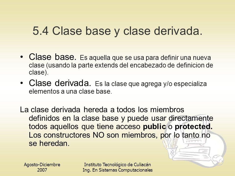 5.4 Clase base y clase derivada.