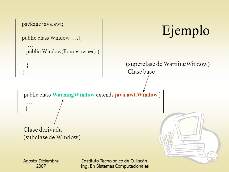 Ejemplo (superclase de WarningWindow) Clase base Clase derivada