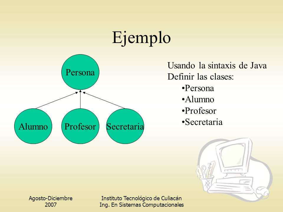 Ejemplo Alumno Persona Profesor Secretaria Usando la sintaxis de Java