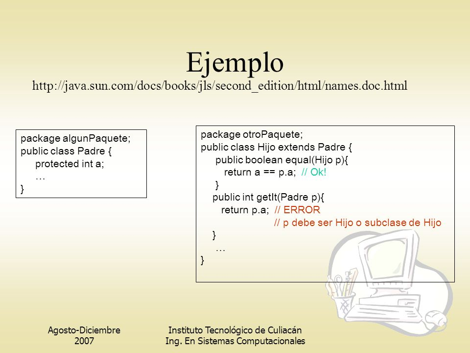 Ejemplo http://java.sun.com/docs/books/jls/second_edition/html/names.doc.html. package otroPaquete;