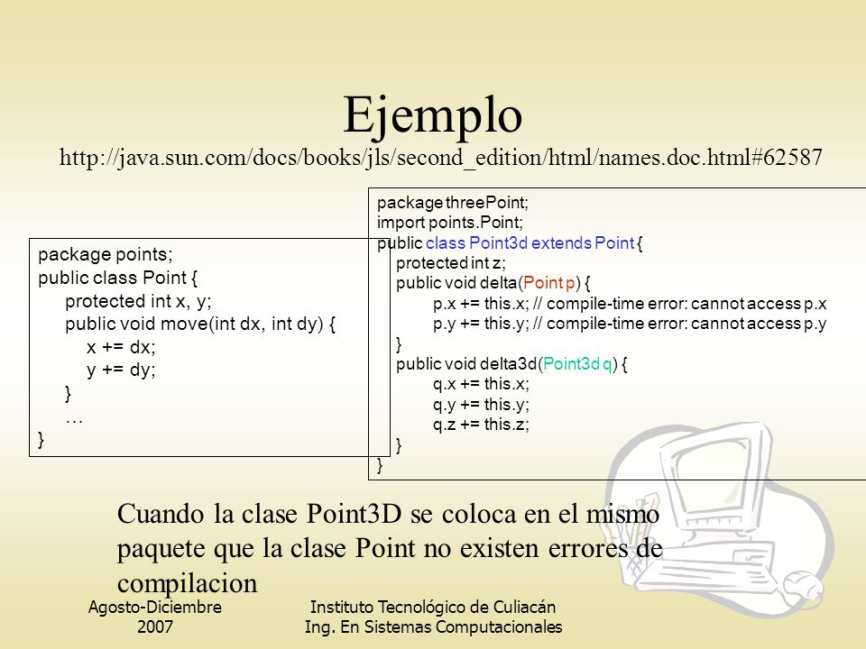 Ejemplo http://java.sun.com/docs/books/jls/second_edition/html/names.doc.html#62587. package threePoint;