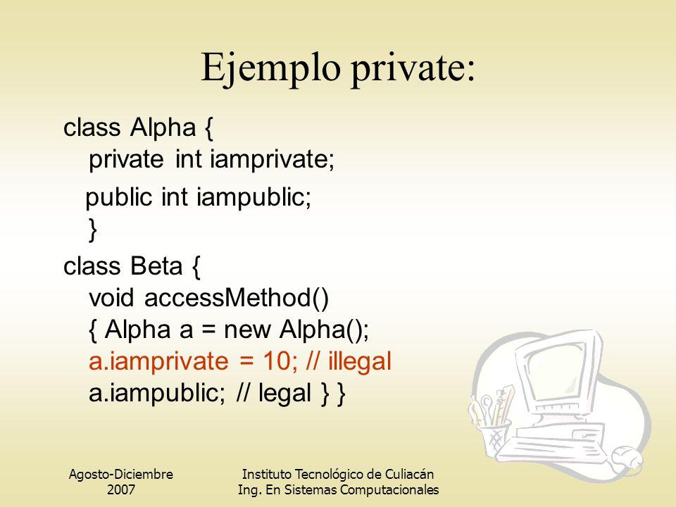 Ejemplo private: class Alpha { private int iamprivate;