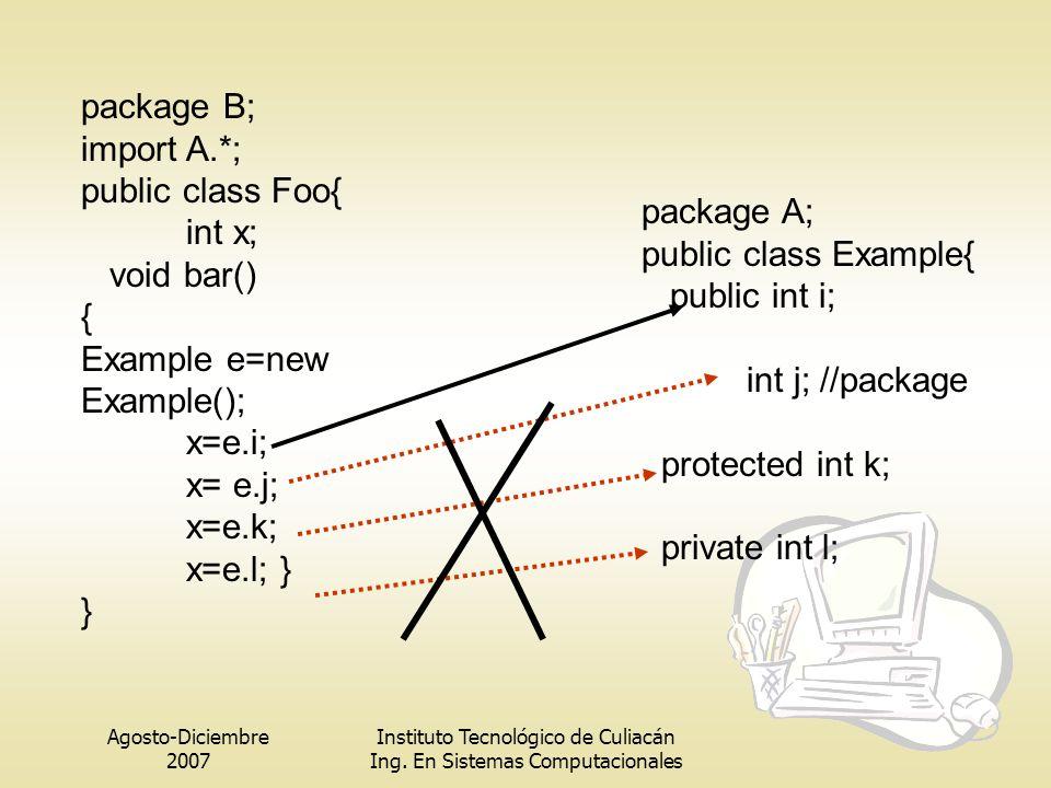 Example e=new Example(); x=e.i; x= e.j; x=e.k; x=e.l; } } package A;