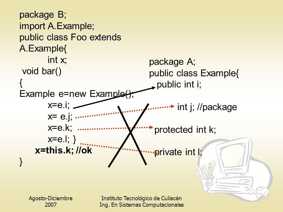 public class Foo extends A.Example{ int x; void bar() {