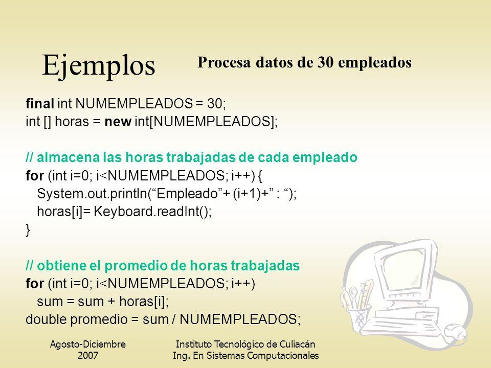 Ejemplos Procesa datos de 30 empleados final int NUMEMPLEADOS = 30;