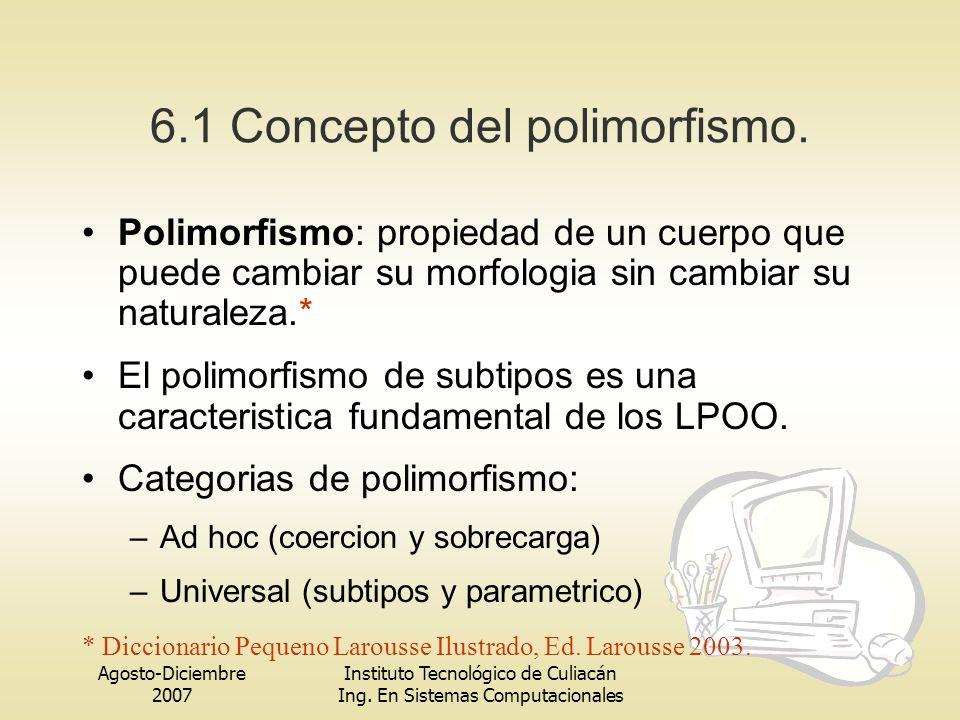 6.1 Concepto del polimorfismo.