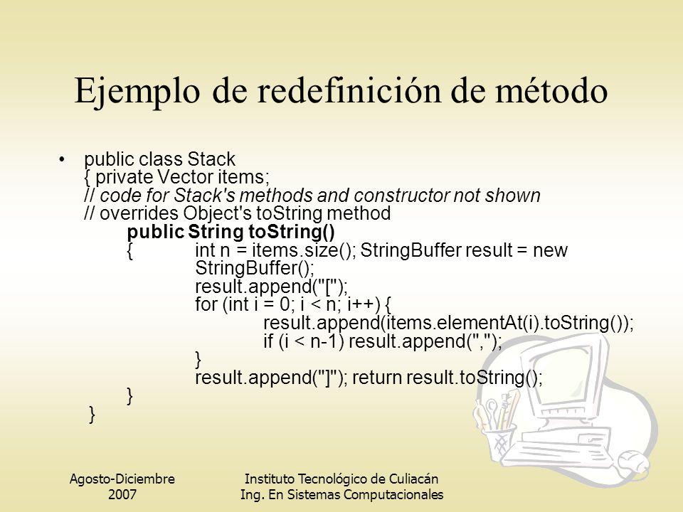 Ejemplo de redefinición de método