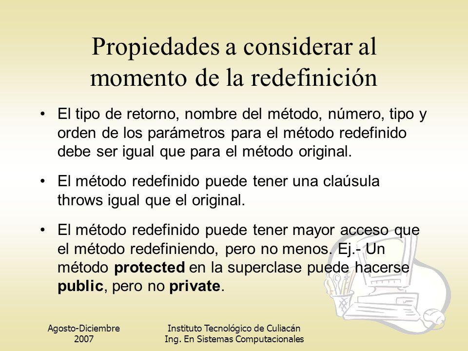 Propiedades a considerar al momento de la redefinición