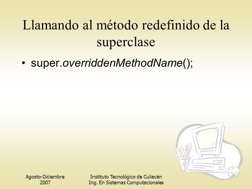 Llamando al método redefinido de la superclase