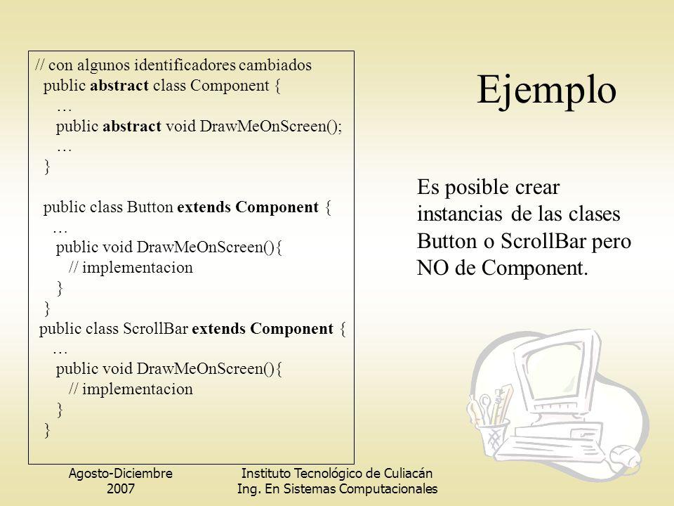Ejemplo // con algunos identificadores cambiados. public abstract class Component { … public abstract void DrawMeOnScreen();
