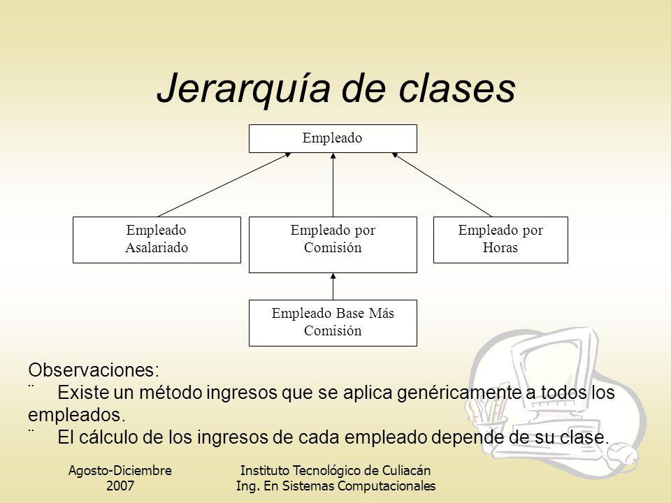 Jerarquía de clases Observaciones: