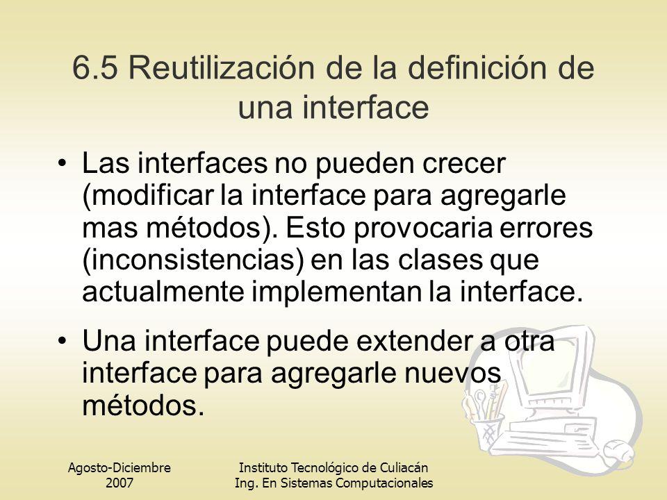 6.5 Reutilización de la definición de una interface