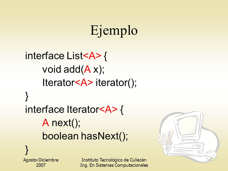 Ejemplo interface List<A> { void add(A x);