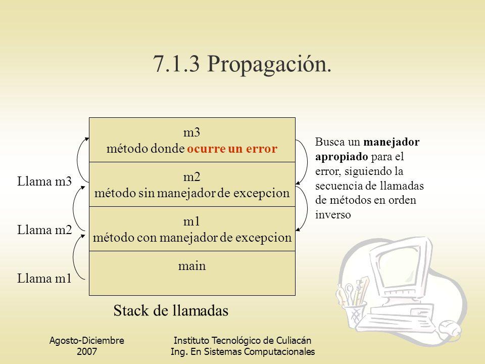 7.1.3 Propagación. Stack de llamadas m3 método donde ocurre un error