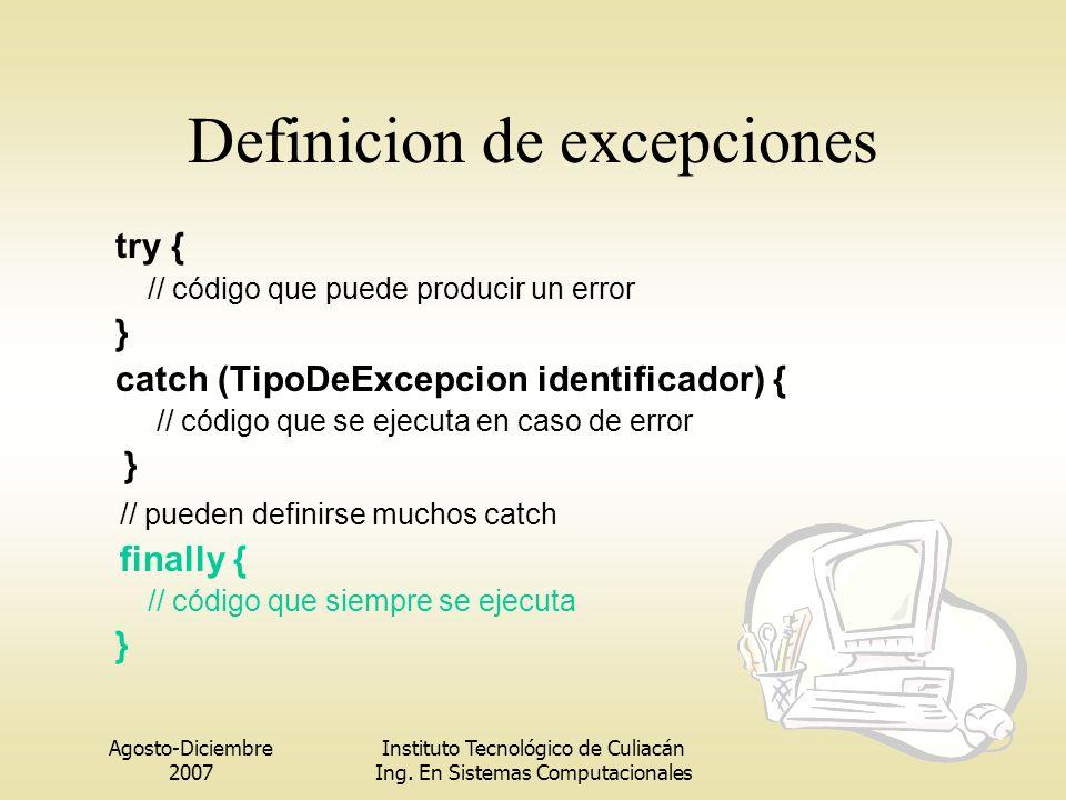 Definicion de excepciones