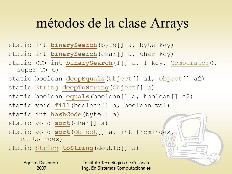métodos de la clase Arrays