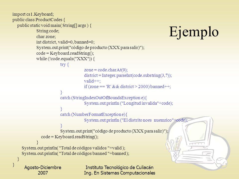 Ejemplo import cs1.Keyboard; public class ProductCodes {