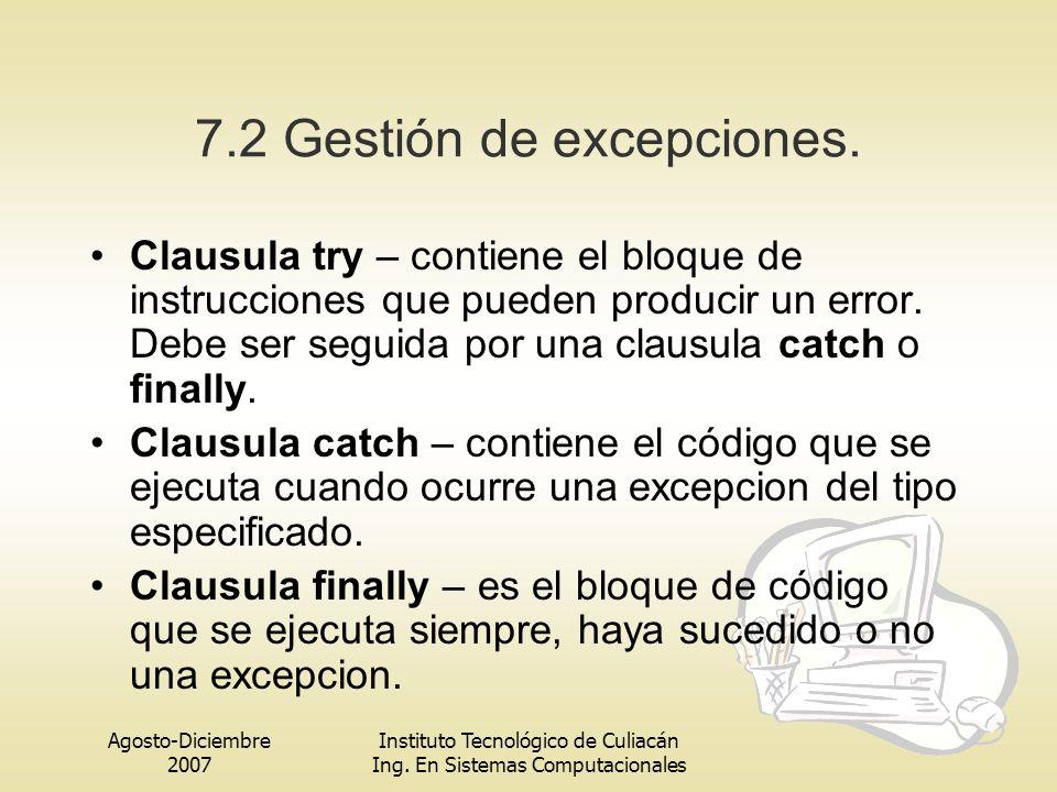 7.2 Gestión de excepciones.
