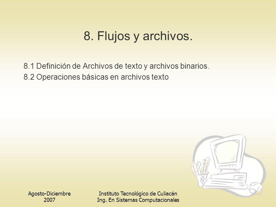 8. Flujos y archivos. 8.1 Definición de Archivos de texto y archivos binarios. 8.2 Operaciones básicas en archivos texto.