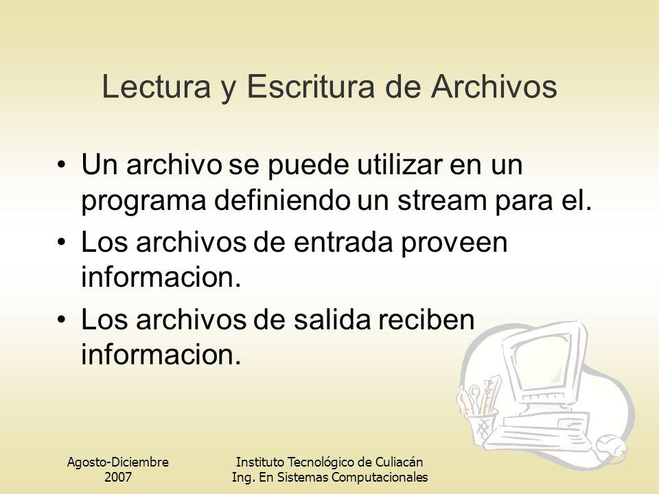 Lectura y Escritura de Archivos