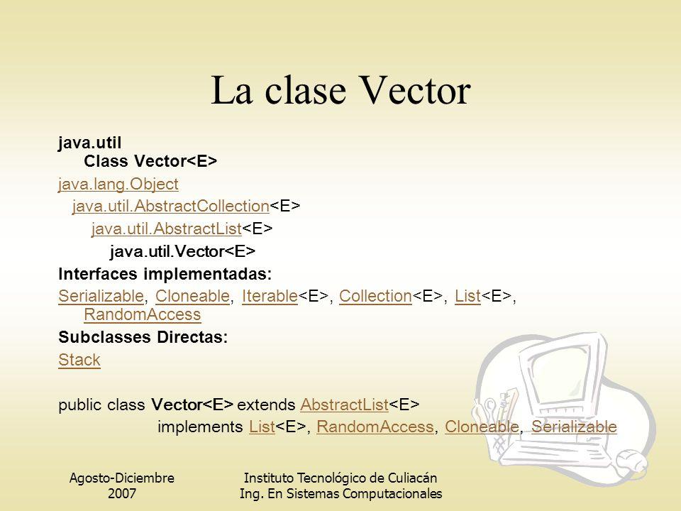 La clase Vector java.util Class Vector<E> java.lang.Object
