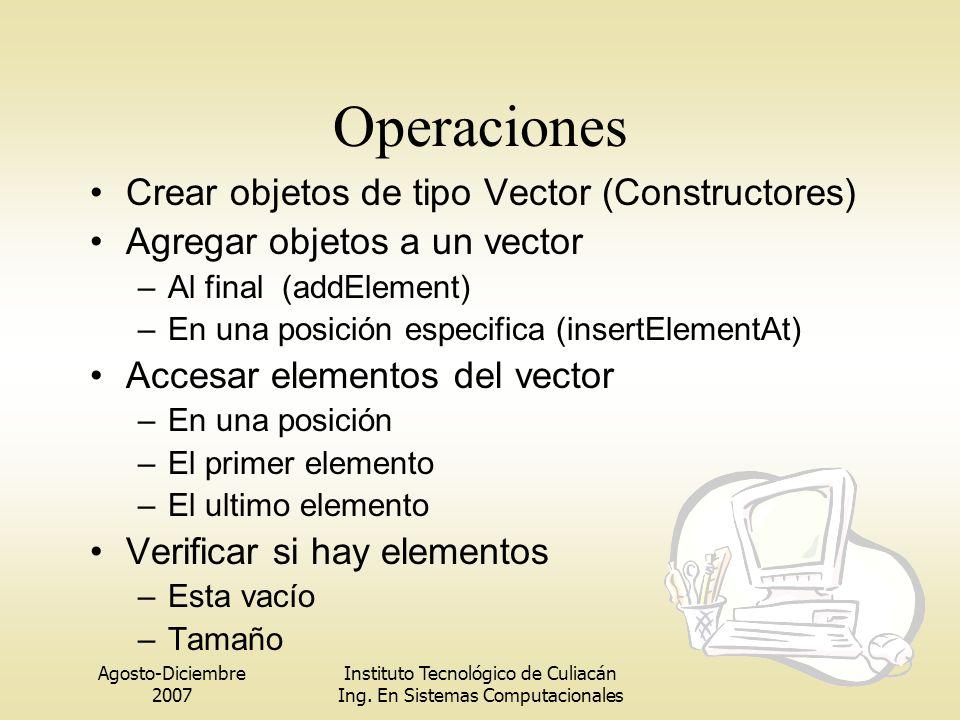 Operaciones Crear objetos de tipo Vector (Constructores)